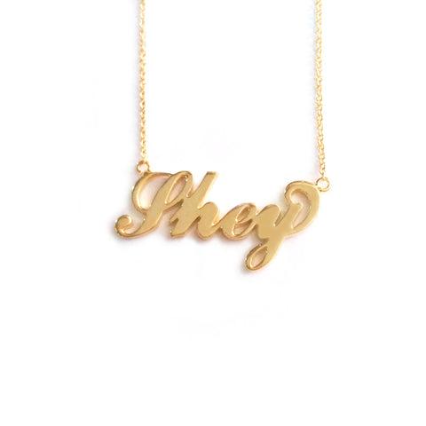 Carrie Style Name Necklace in Yellow Gold Tone