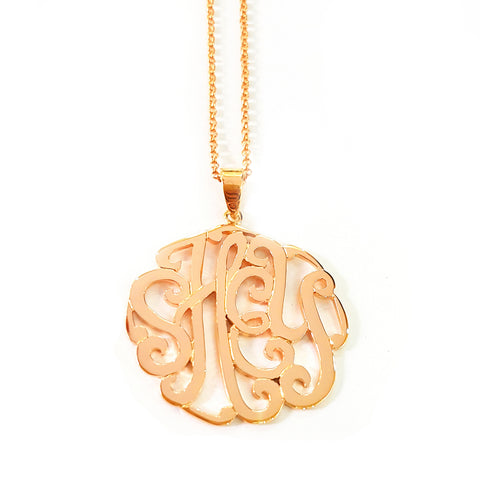 Swirly Monogram Necklace in Rose Gold Tone