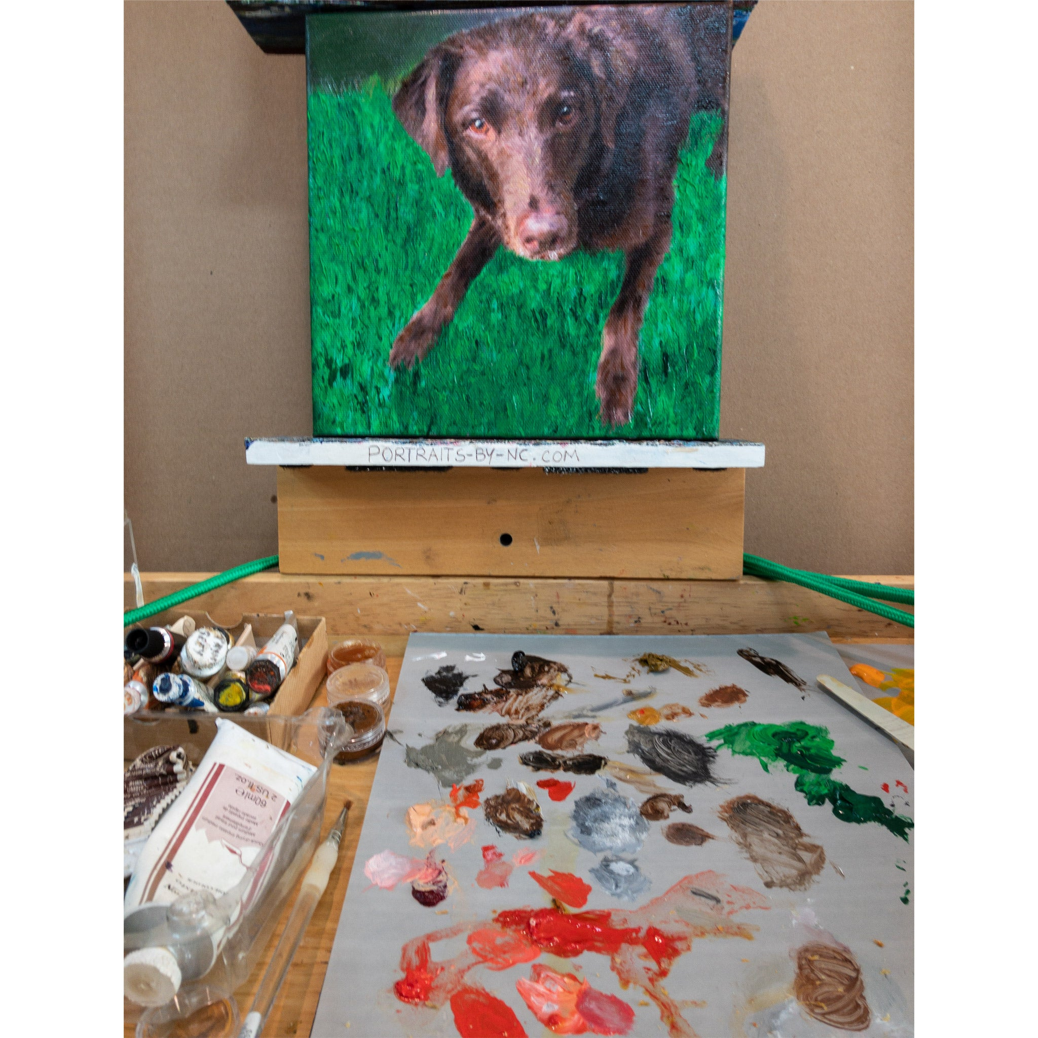 Labrador Painting on Easel