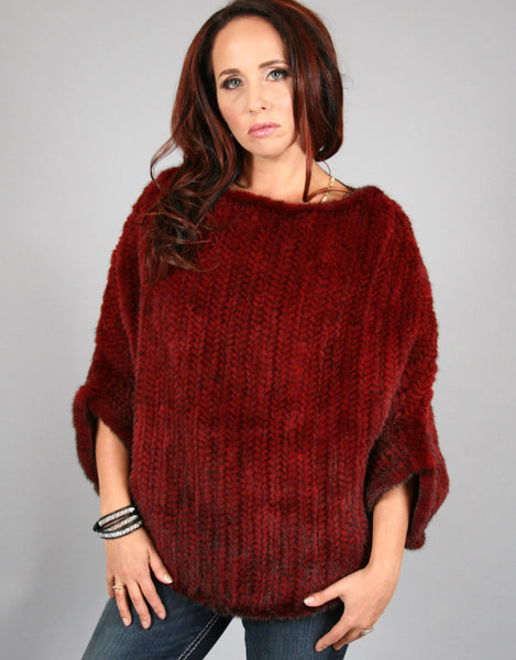 Knit Mink Poncho - Red