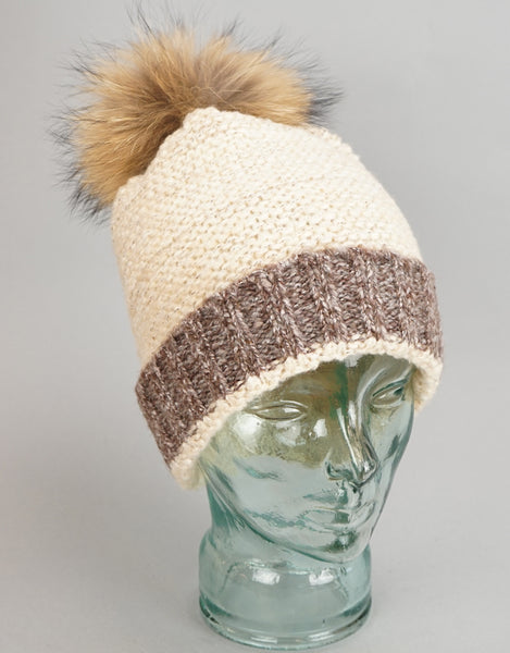 Two Tone Garter Stitch Toque - Beige /Grey