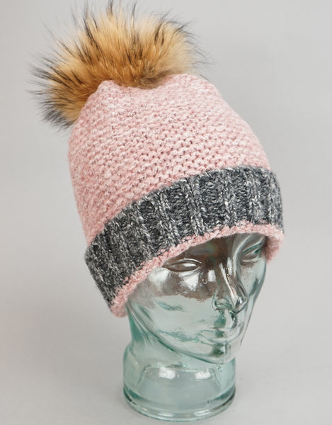 Two Tone Garter Stitch Toque - Pink /Grey