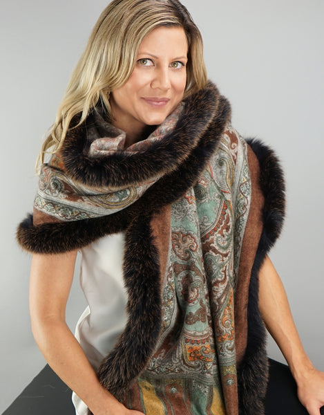 Printed Cashmere Shawl- Marigold / Brown Snow