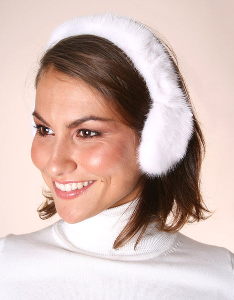 Mink All Fur Earmuff-White