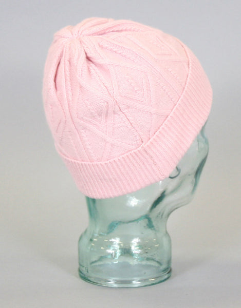 Cashmere Cross Cable Hat-Pink