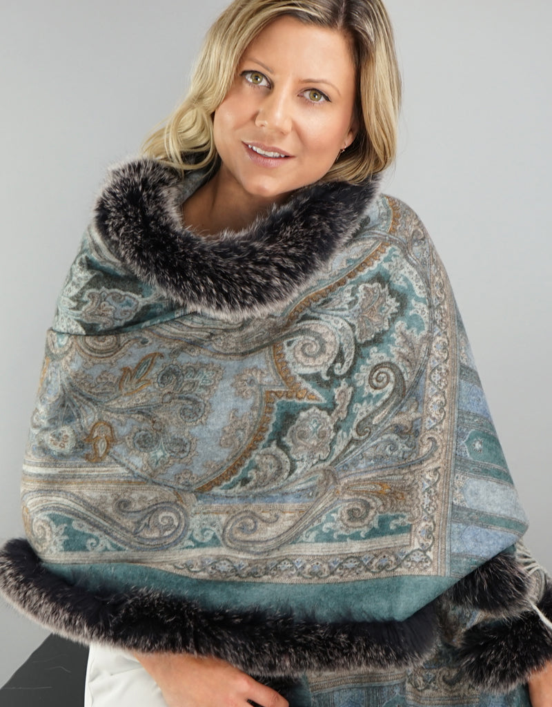 Printed Cashmere Shawl- Turquoise Scroll / Black Snow