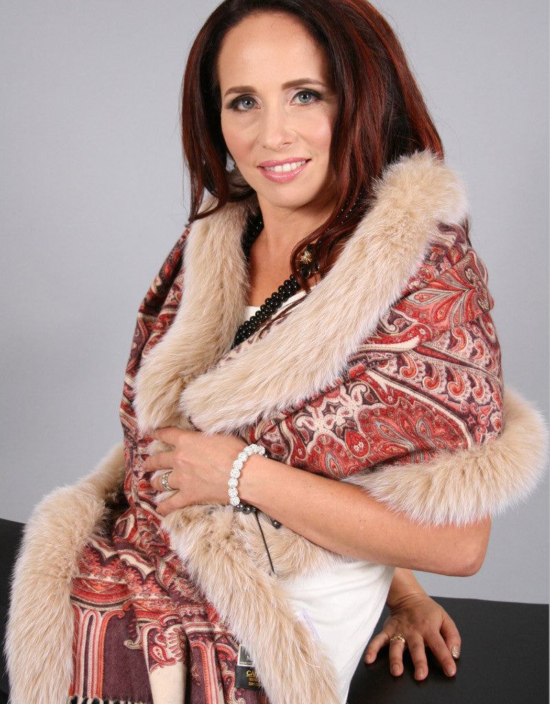 Printed Cashmere Shawl-Brown/ Amber