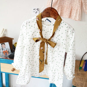 3-8Y Girls White Floral Blouse with Scarf G211L