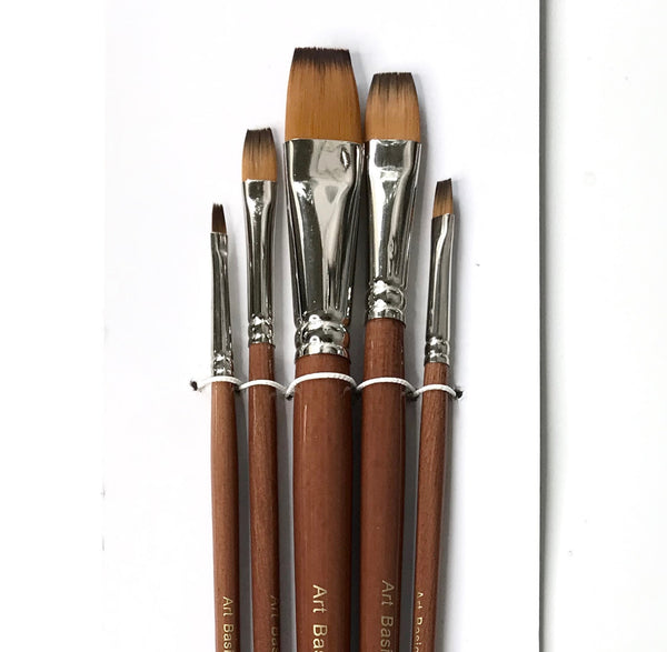 Art Basics Golden Brown Nylon Flat Long 101 Brush Set 5pcs