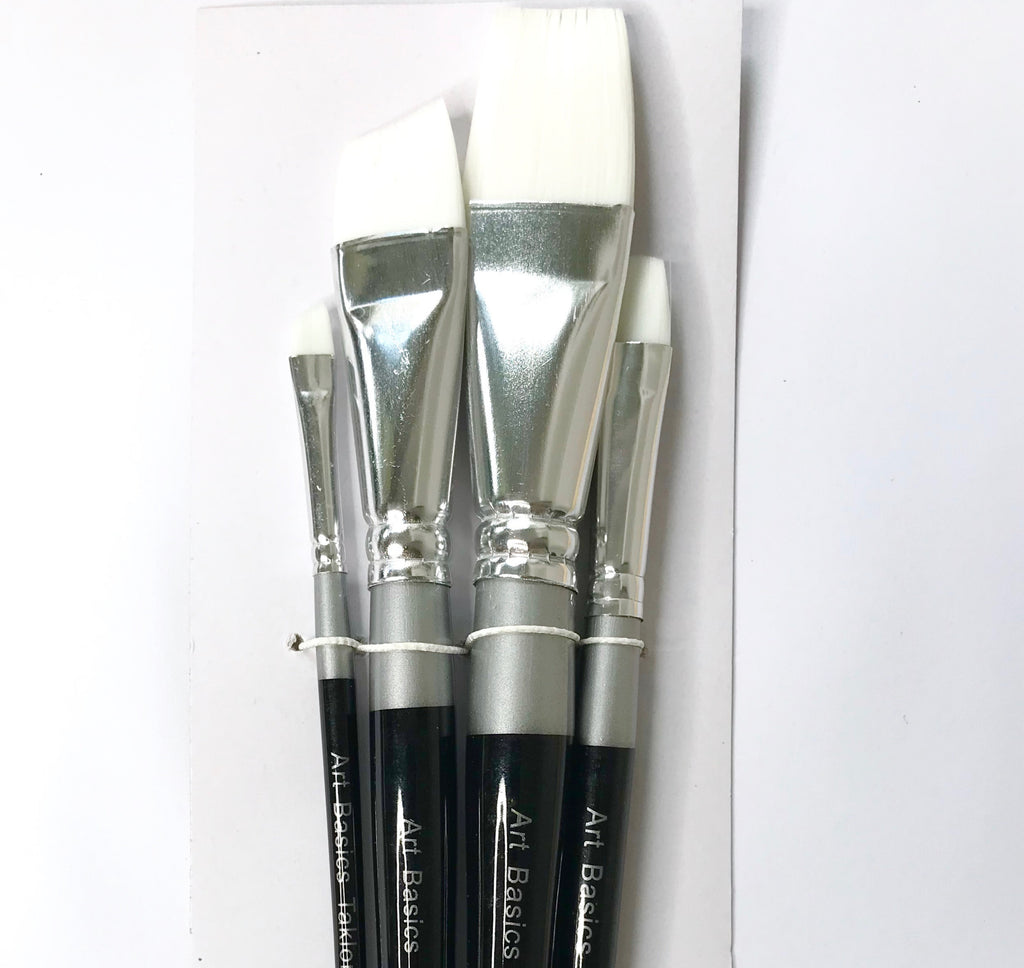 Art Basics White Taklon Flat Short 108 Brush Set 4pcs