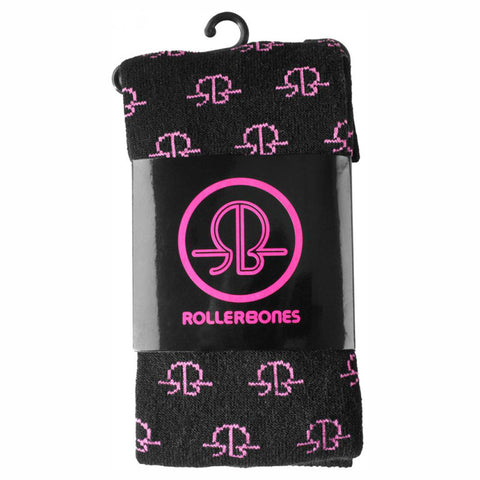 Rollerbones Multi Logo Thigh High Socks Black/Pink