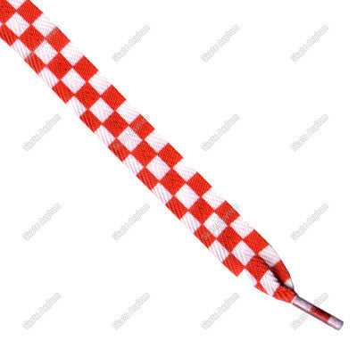 Shoe Laces Wide - Checker White/Red