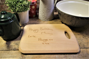 Your drawing and messages on a chopping board by Personalised For