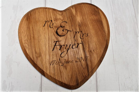 Personalised Mr & Mrs Wedding Heart Shaped Oak Chopping Board - ukhomeware