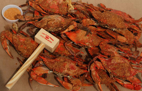 Crab Feast  Bushel Medium/ Large Blue Crabs- 4 lbs gulf shell on shrimp- (10) Crabs Mallets