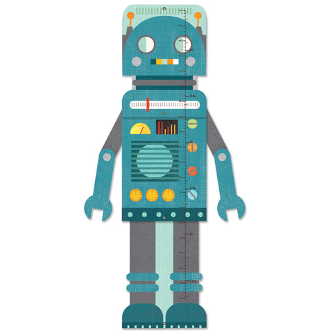 petit collage blue robot growth chart