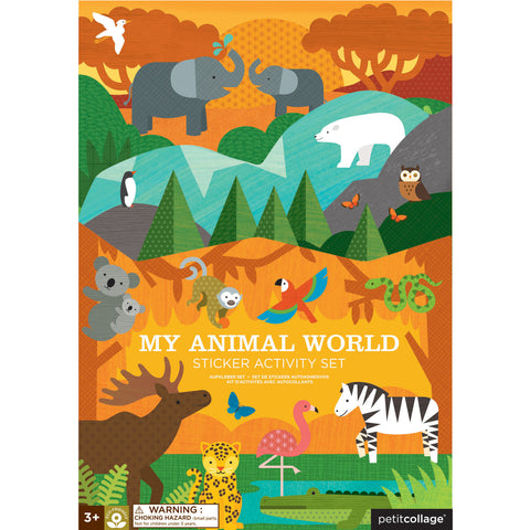 petit collage animal world sticker activity set 1