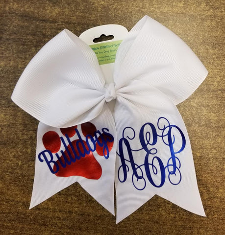 Cheer Bow Bulldogs Personalized - Hairbow Heaven of Bossier City