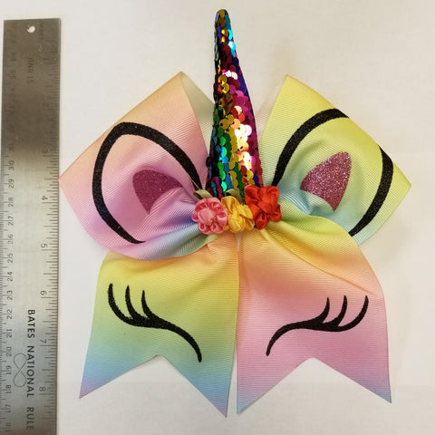 Unicorn Rainbow Cheer Bow - Hairbow Heaven of Bossier City