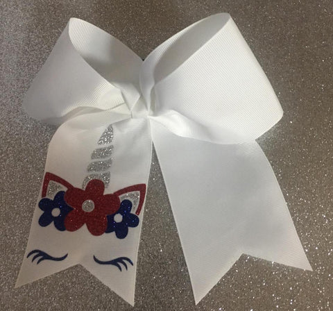 Cheer Bow - 4th of July Unicorn - Hairbow Heaven of Bossier City