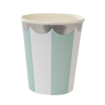 Mint Striped Cups