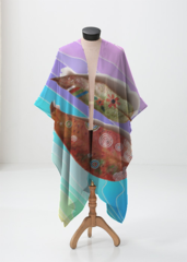 Colorful Waves & Leaves Wrap - Sheer Wrap