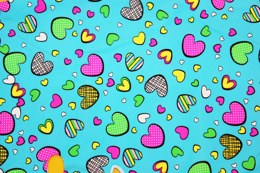 Prints & Patterns - Aqua Hearts Facekini