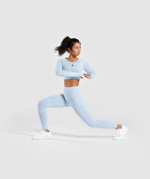 Gymshark Fleur Texture Long Sleeve Crop Top - Blue 2