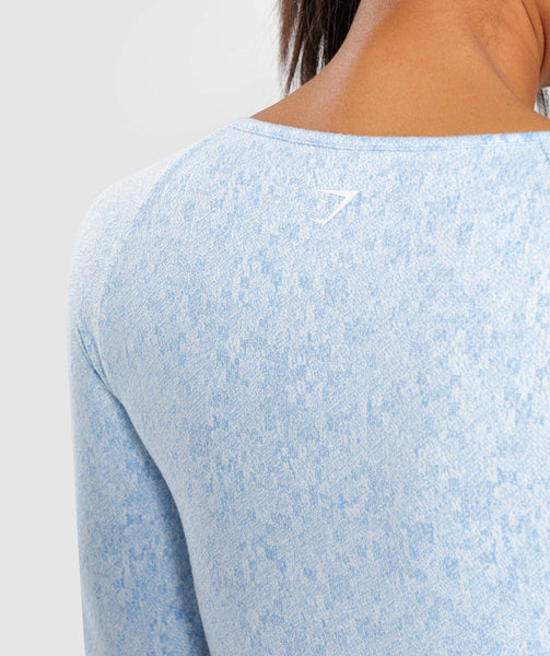 Gymshark Fleur Texture Long Sleeve Crop Top - Blue 4