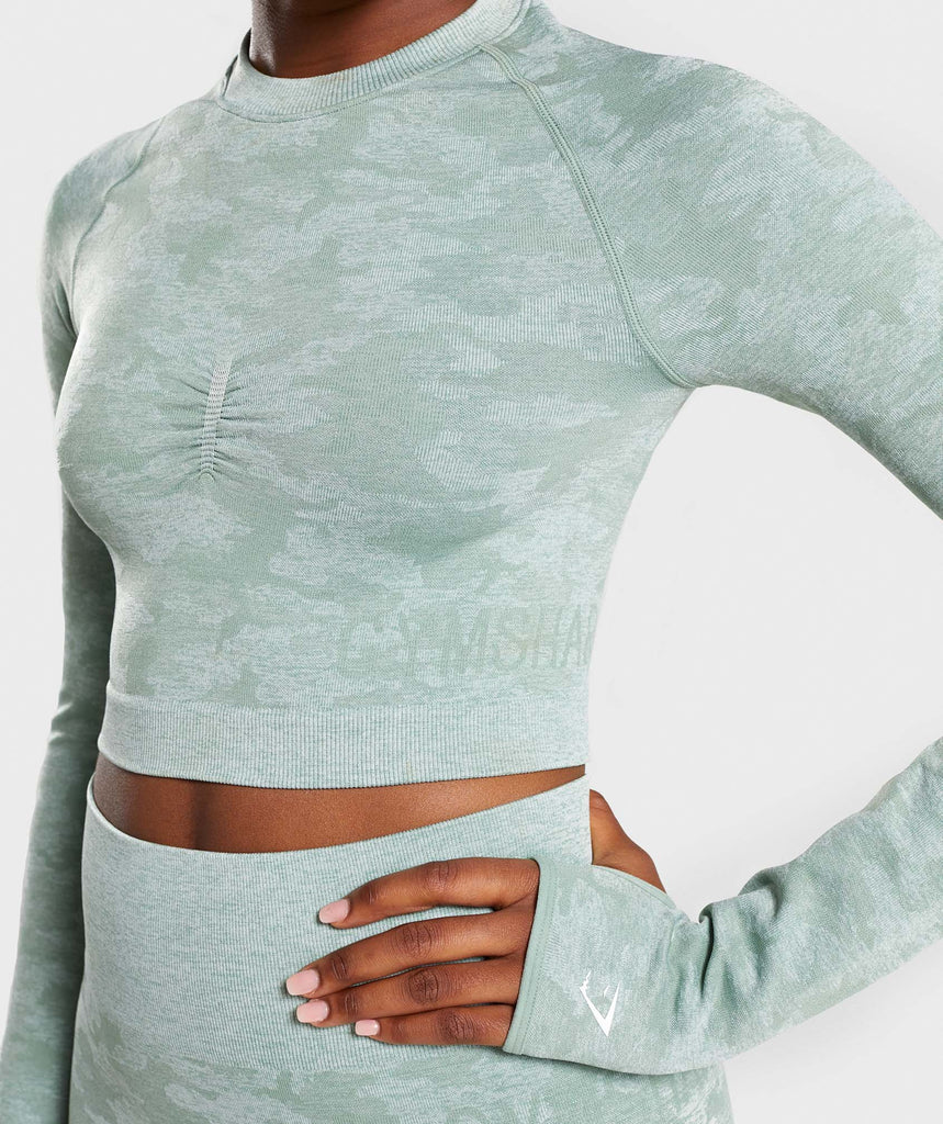 Gymshark Camo Seamless Long Sleeve Crop Top - Sage Green 6