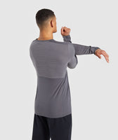 Gymshark Colour Block Central Logo Long Sleeve T-Shirt - Charcoal 8