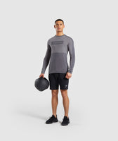Gymshark Colour Block Central Logo Long Sleeve T-Shirt - Charcoal 9