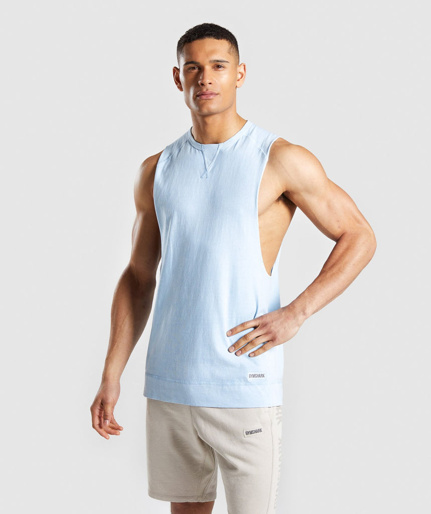 Gymshark Laundered Drop Arm Tank - Light Blue 4