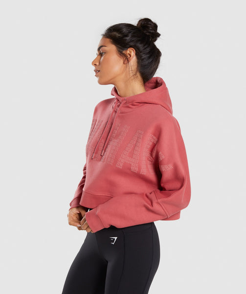 Gymshark Repeat Print Crop Pullover - Rose Brick 2