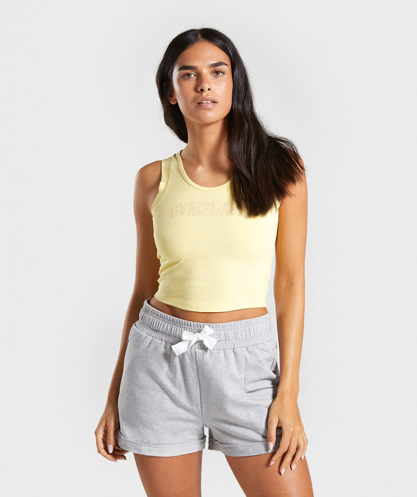 Gymshark Botanic Graphic Crop Top - Yellow 1
