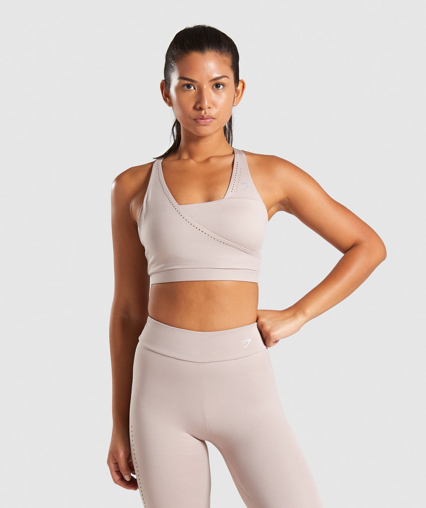 Gymshark Laser Cut Sports Bra - Taupe 1