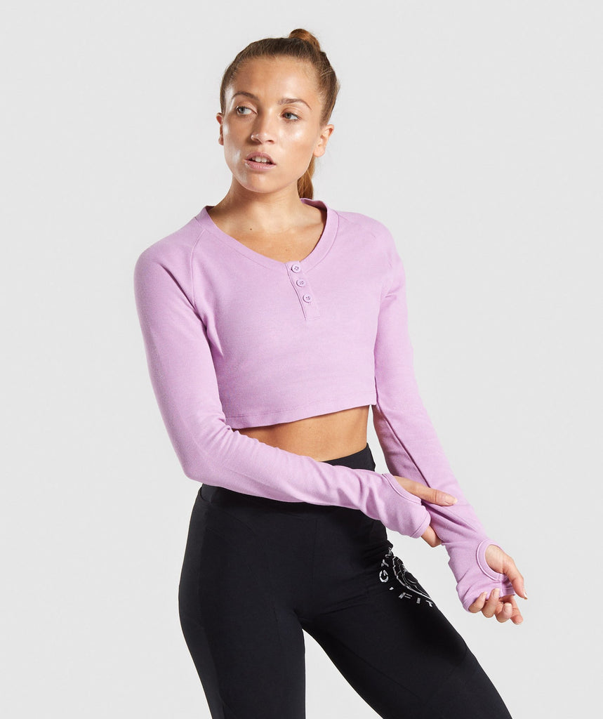 Gymshark Legacy Fitness Long Sleeve Crop Top - Pink 1