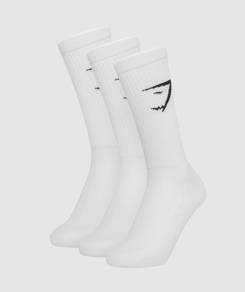 Gymshark Mens Crew Socks (3pk) - White 1