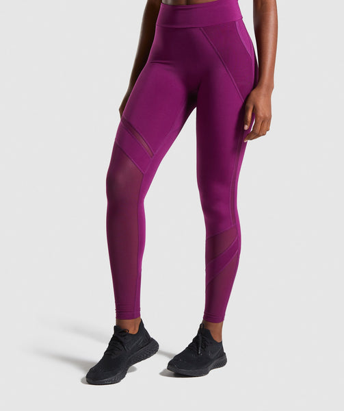 Gymshark Mesh Layer Leggings - Deep Magenta 4