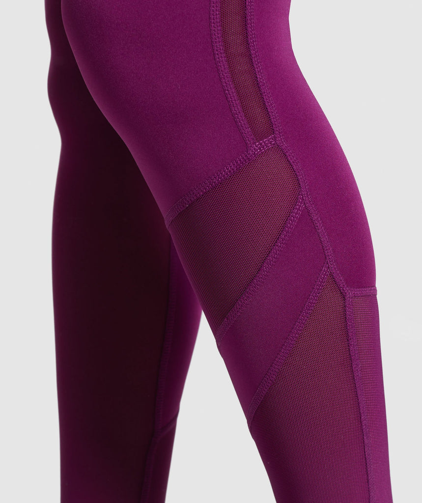 Gymshark Mesh Layer Leggings - Deep Magenta 6