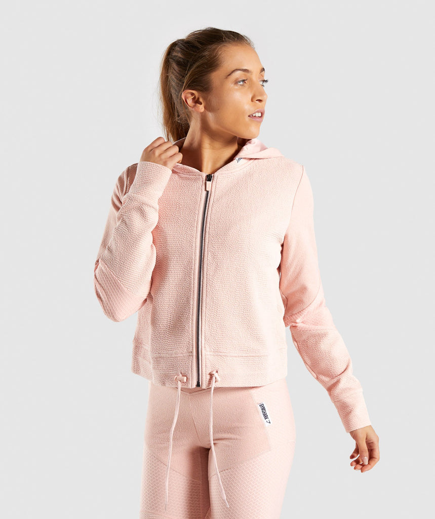 Gymshark True Texture Hooded Bomber Jacket - Blush Nude 1