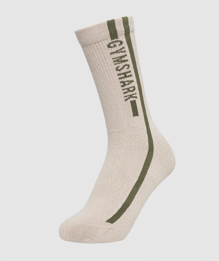 Gymshark Unisex Side Stripe Socks (1pk) - Beige/Woodland Green 1