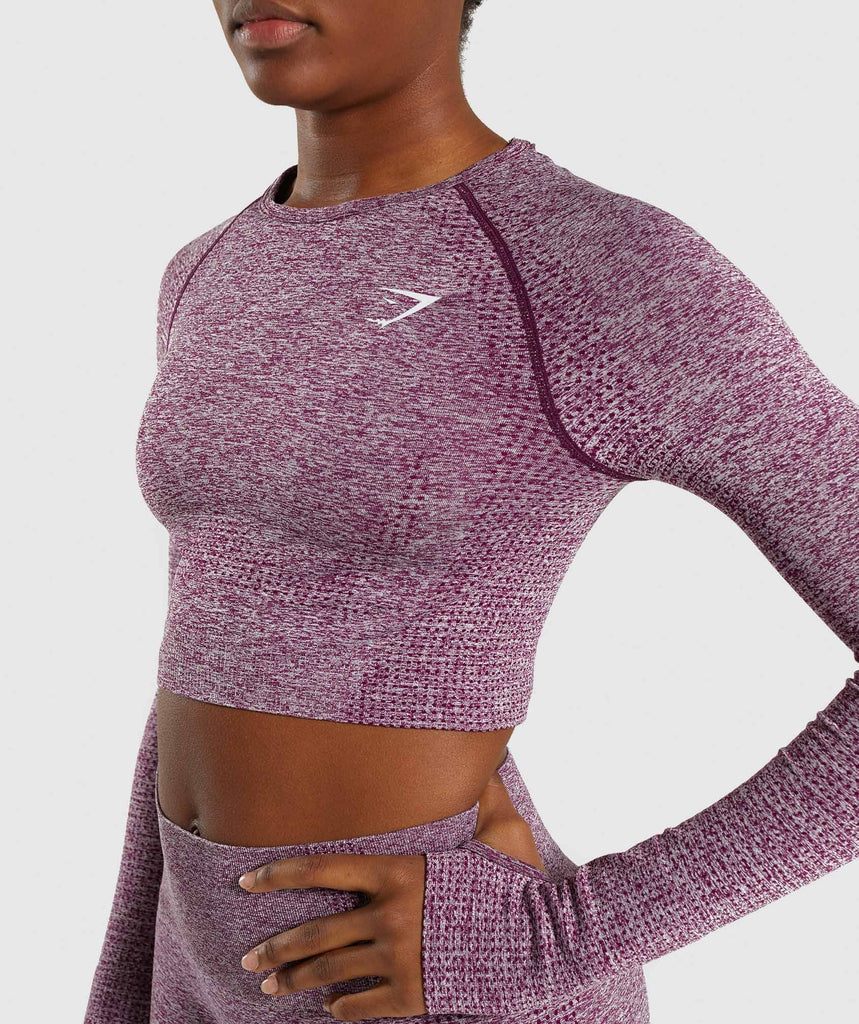 Gymshark Vital Seamless Long Sleeve Crop Top - Purple 5