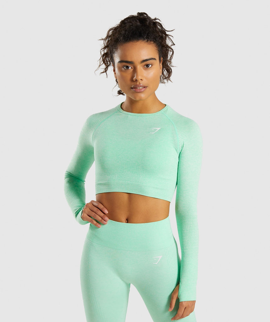 Gymshark Vital Seamless Long Sleeve Crop Top - Green 1