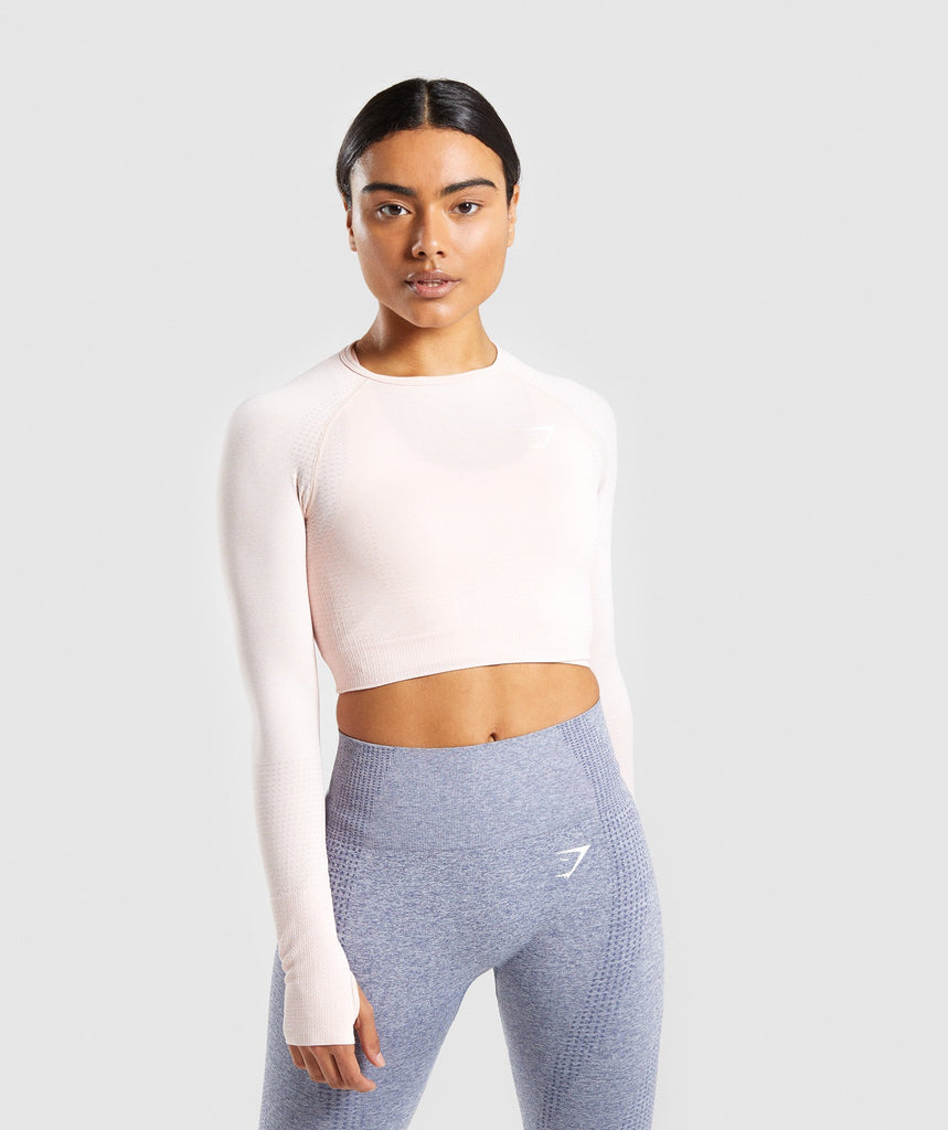Gymshark Vital Long Sleeve Crop Top - Blush Nude Marl 1