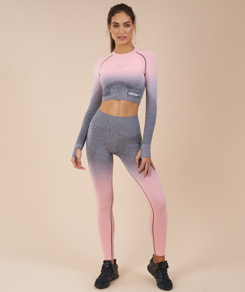 Gymshark Ombre Seamless Crop Top - Peach Pink/Charcoal 1