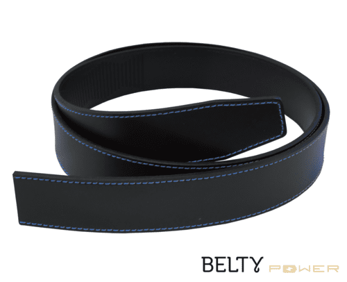 Black real split leather for Belty Power with blue stitches - Belty