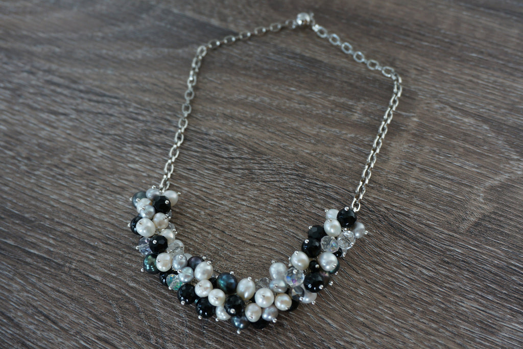 Grey Pearl and Sparkle Bobble Necklace - Pearls4Girls