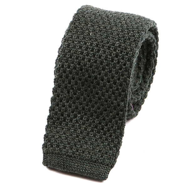 Army Green Wool Knitted Tie