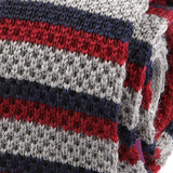 Grey And Red Striped Wool Knitted Tie